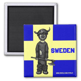 Schweden-Magnet mit lustigem Wikinger Quadratischer Magnet