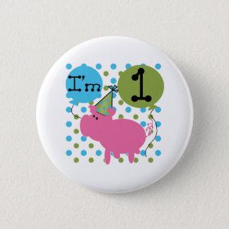 Schwein-1. Geburtstag Runder Button 5,1 Cm