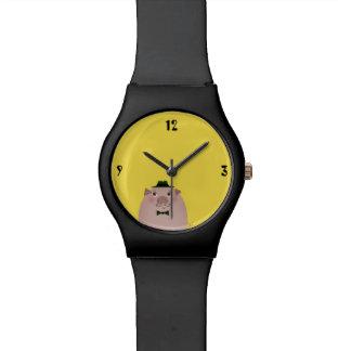 Schwein-Schnurrbart-niedlicher lustiger Herr-alte Armbanduhr