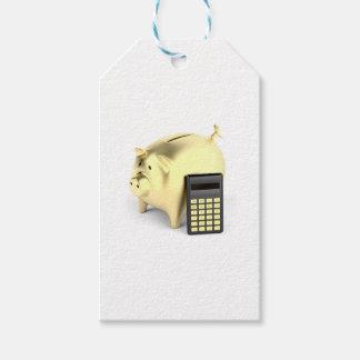 Schwein und Taschenrechner Geschenkanhänger