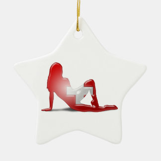 Schweizer Mädchen-Silhouette-Flagge Keramik Stern-Ornament