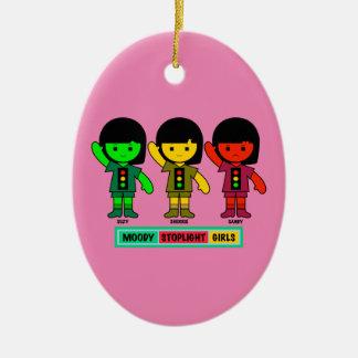 Schwermütige Stoplight-Mädchen kurz gesagt Keramik Ornament