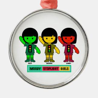 Schwermütige Stoplight-Mädchen kurz gesagt Silbernes Ornament