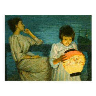 Schwester-Abends-Laterne Sclittgen Vintages Postkarte