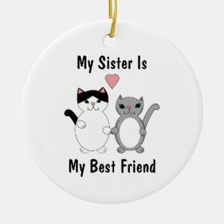 Schwester-bester Freund-Miezekatze-Katzen Keramik Ornament