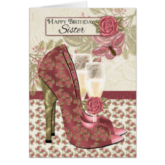 Schwester Champagne und Schuhe Schmetterling und Karte