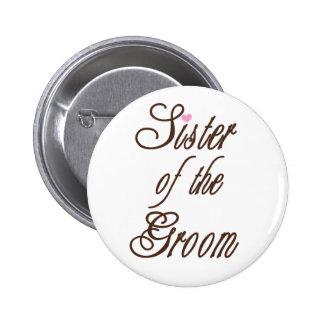Schwester des Bräutigam-noblen Brauns Runder Button 5,7 Cm