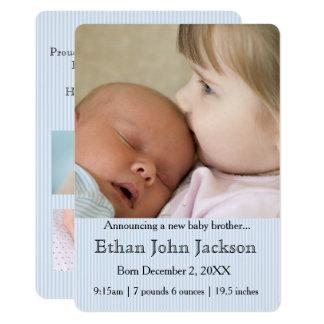 Schwester, die die Geburts-Blau des Bruders 12,7 X 17,8 Cm Einladungskarte