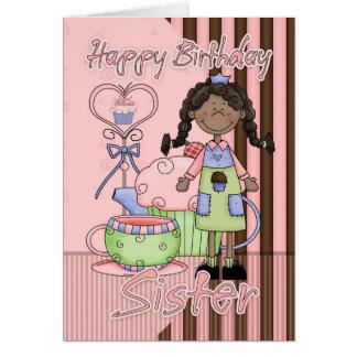 Schwester-Geburtstag-Karte - kleine Kuchen und Tee Karte