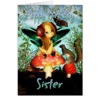 Schwester, Geburtstags-Karte, niedliche kleine Fee Karte