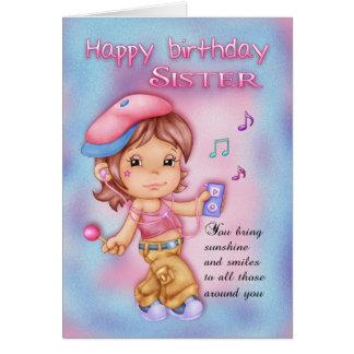 Schwester-Geburtstags-Karte - niedliches Mädchen Grußkarte