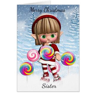 Schwester-kleiner Elf mit Süßigkeits-Pop und Karte