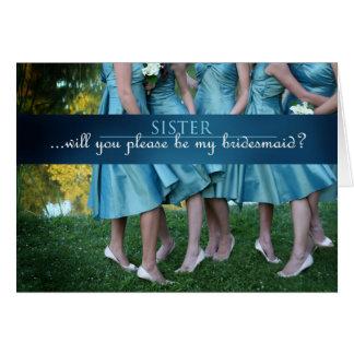 Schwester sind Sie meine Brautjungfer? Karte