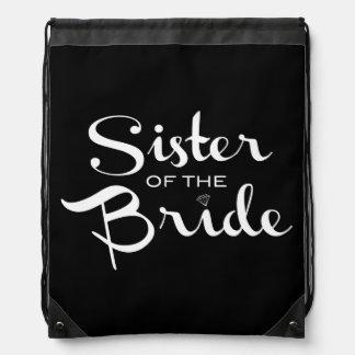 Schwester von Braut-Weiß auf Schwarzem Turnbeutel
