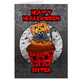 Schwesterhalloween-Kuchenkatze, grauer Tabby Karte