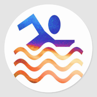 Schwimmen-Erfolg - cooler Verstand in heiße Zeiten Runder Aufkleber