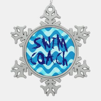 SCHWIMMEN-TRAINER SCHNEEFLOCKEN Zinn-Ornament