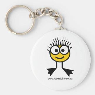 Schwimmen-Verein-Gelb-Schwimmen-Charakter-Schlüsse Standard Runder Schlüsselanhänger
