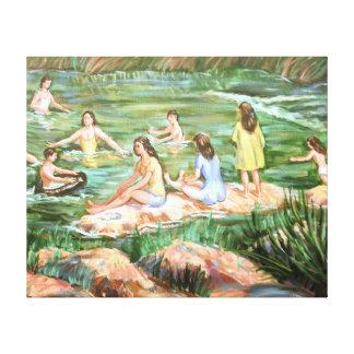 Schwimmende Kinder Leinwanddruck
