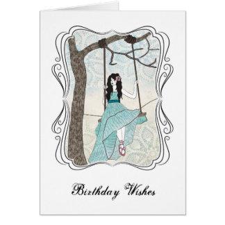 Schwingen-Mädchen-Geburtstags-Karte Grußkarte