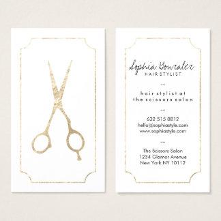Scissors elegantes Imitatgold des Haar-Stylisten Visitenkarte