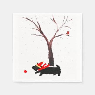 Scottie-Hunde-und Robin-Weihnachtskunst Papierserviette