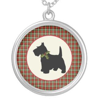 Scottie-Hundeschottisches kariertes Weihnachten Versilberte Kette