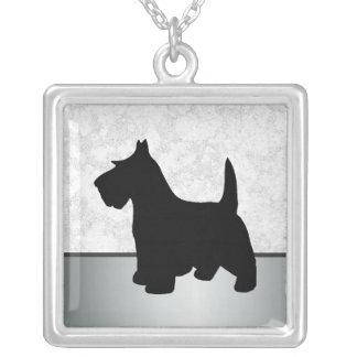 Scottish-Terrier schwarzes Scottie-Hundehaustier Versilberte Kette