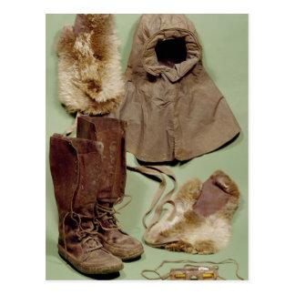 Scotts Kleidung benutzt auf der Antarktis Postkarte