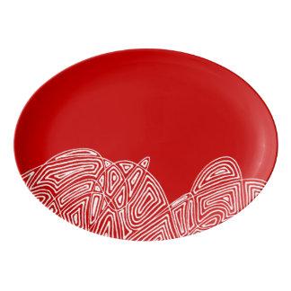 Scribbleprint Aufregung - Rot Porzellan Servierplatte