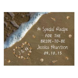 Seashell-Herz-Strand-Brautparty-Rezept-Karten Postkarte