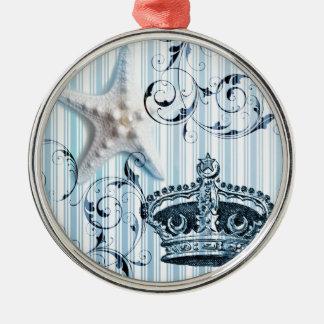 Seashellkrone Starfish blaue Streifen der Marine Rundes Silberfarbenes Ornament