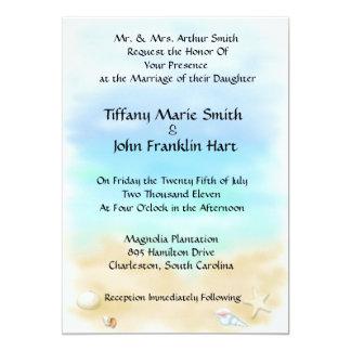 Seashells auf den Strand-Hochzeits-Einladungen