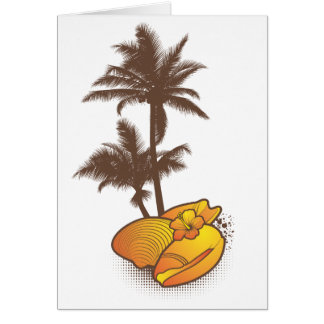 Seashells und palmtree 1 Orange Karte