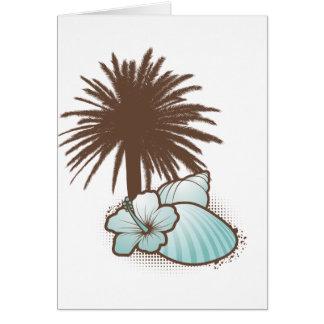 Seashells und palmtree 3 Blau Karte