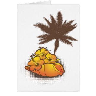 Seashells und palmtree 4 Orange Karte