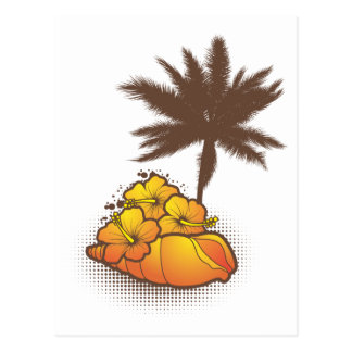 Seashells und palmtree 4 Orange Postkarte