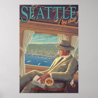 Seattle auf dem Luftweg - Washington-Reise-Plakat Poster