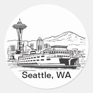 Seattle-Fähren-Washington-Staats-Linie Kunst Runder Aufkleber