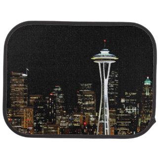 Seattle-Skyline nachts, mit Raum-Nadel Automatte