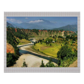 Secenic Ansicht LANGTAD Nepal: KRISTALLgrenze Poster