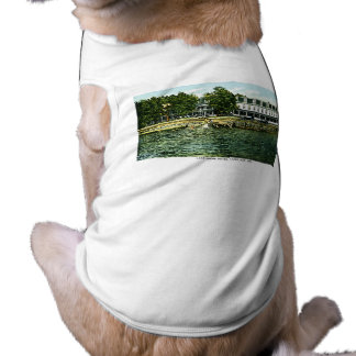 See-Ufer-Hotel, klarer See, Iowa Ärmelfreies Hunde-Shirt