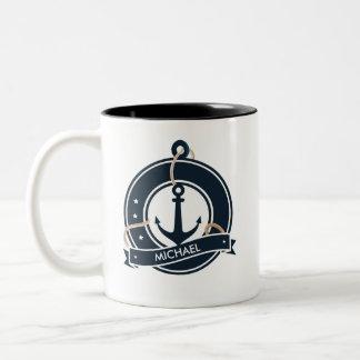 Seeanker-Seemann-Segeln personalisiert Zweifarbige Tasse