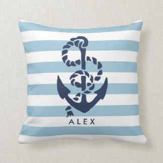 Seeanker u. blauer Streifen personalisiert Kissen