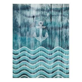 Seeanker und Zickzack Muster auf Holz Postkarten