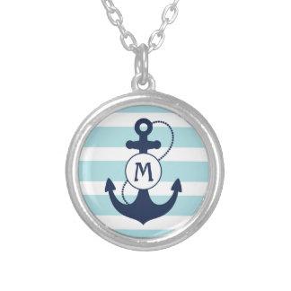 Seeaqua-blaues Anker-Monogramm Halskette Mit Rundem Anhänger