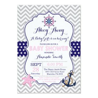 SeeBabyparty-Einladungs-Marine-Rosa-Grau Karte