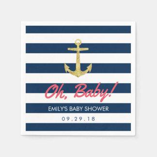 Seegoldanker-Marine-blaue Streifen-Babyparty Serviette