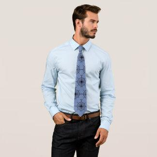 Seekompass-Muster auf Blau Bedruckte Krawatte