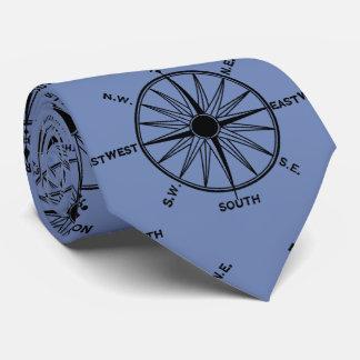Seekompass-Muster auf Blau Krawatte